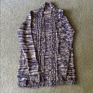 Blue/White Marled Knit Cardigan